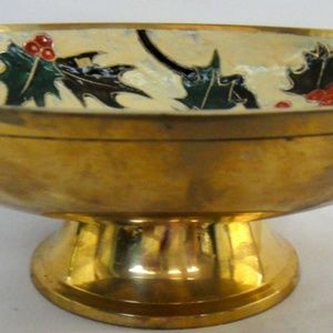 Holiday COMPOTE DISH Holly Berry Leaves Enamel